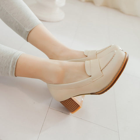 PU Pure Color Pointed Toe Low Block Heel Casual Shoes 8 Beige