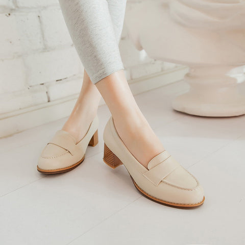 PU Pure Color Pointed Toe Low Block Heel Casual Shoes 9.5 Beige