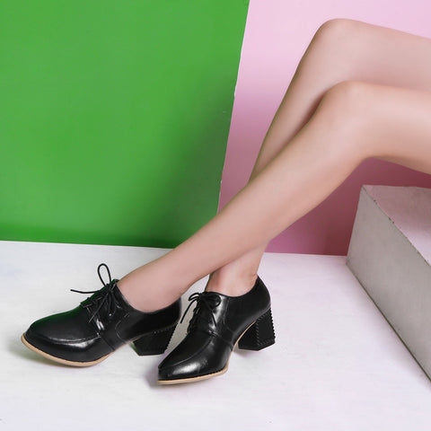 PU Pure Color Pointy Toe Block Heel Lace Up Brogues 7.5 Black