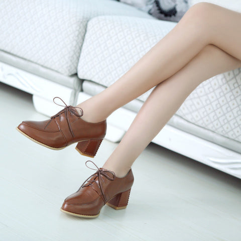 PU Pure Color Pointy Toe Block Heel Lace Up Brogues 7.5 Brown
