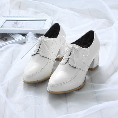 PU Pure Color Pointy Toe Block Heel Lace Up Brogues 6.5 White