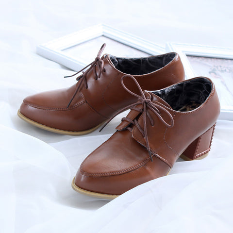 PU Pure Color Pointy Toe Block Heel Lace Up Brogues 6.5 Brown