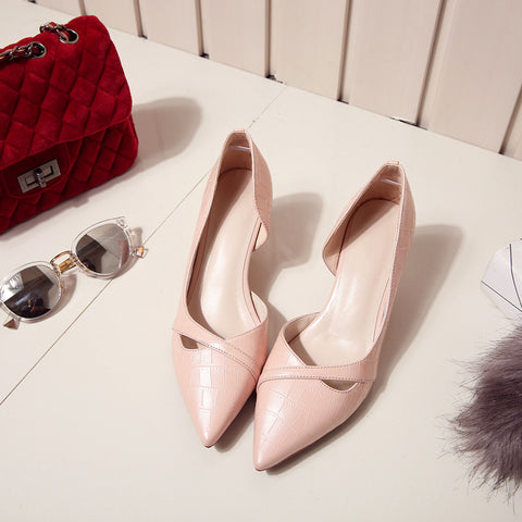 PU Pure Color Pointy Toe Kitten Heel Plaid Lines Pumps 9 Pink