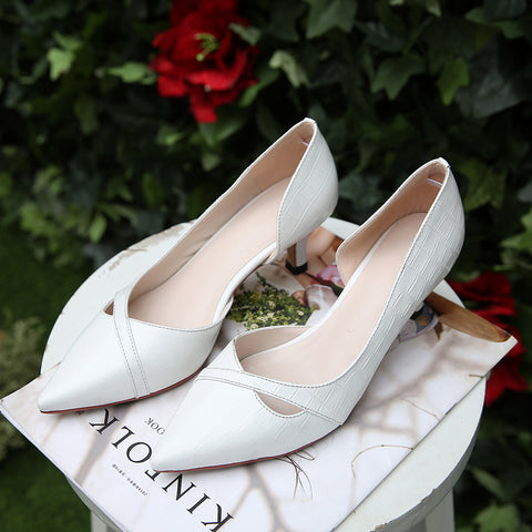 PU Pure Color Pointy Toe Kitten Heel Plaid Lines Pumps 9 White