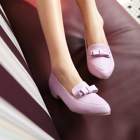 PU Pure Color Pointy Toe Middle Block Heel Bowtie Loafers 9.5 Purple