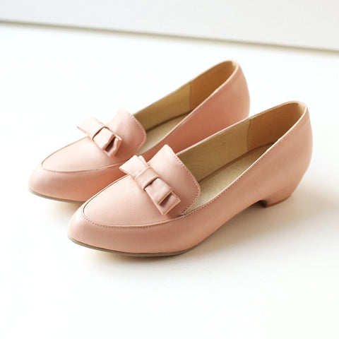 PU Pure Color Pointy Toe Middle Block Heel Bowtie Loafers 9 Pink