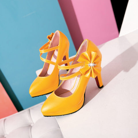 PU Pure Color Pointy Toe Stiletto Heel Bowtie Ankle Strap Velcro Pumps 9 Yellow