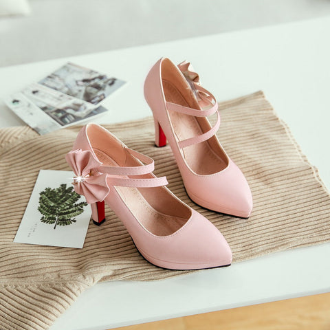 PU Pure Color Pointy Toe Stiletto Heel Bowtie Ankle Strap Velcro Pumps 9 Pink