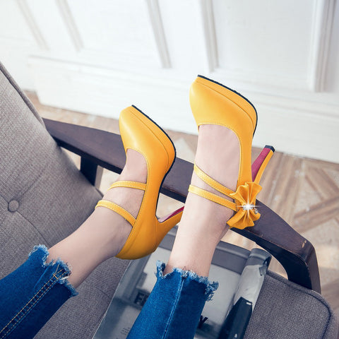 PU Pure Color Pointy Toe Stiletto Heel Bowtie Ankle Strap Velcro Pumps 9.5 Yellow