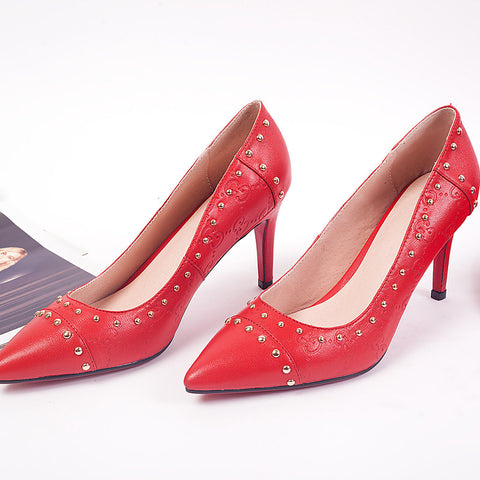 PU Pure Color Pointy Toe Stiletto Heel Metal Beads Court Shoes 6.5 Red