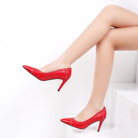PU Pure Color Pointy Toe Stiletto Heel Metal Beads Court Shoes 7.5 Red