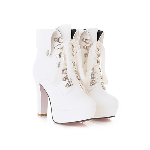 PU Pure Color Rivet Lace Up Round Toe Kitten Heel Short Boots 9 White