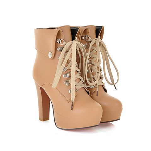 PU Pure Color Rivet Lace Up Round Toe Kitten Heel Short Boots 9 Apricot