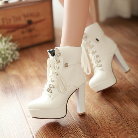 PU Pure Color Rivet Lace Up Round Toe Kitten Heel Short Boots 9.5 White