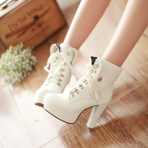 PU Pure Color Rivet Lace Up Round Toe Kitten Heel Short Boots 8 White