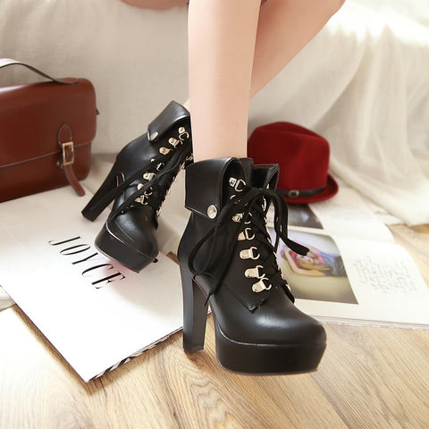 PU Pure Color Rivet Lace Up Round Toe Kitten Heel Short Boots 9.5 Black