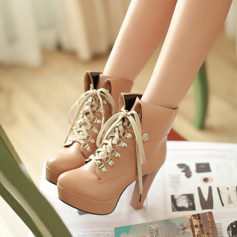 PU Pure Color Rivet Lace Up Round Toe Kitten Heel Short Boots 8 Apricot