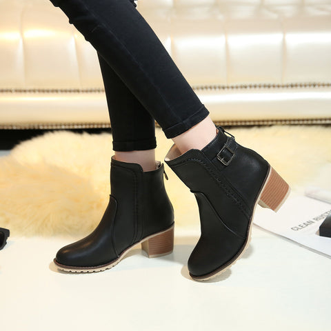 PU Pure Color Round Toe Block Heel Back Zipper Ankle Boots 9 Black