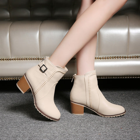 PU Pure Color Round Toe Block Heel Back Zipper Ankle Boots 9 Beige