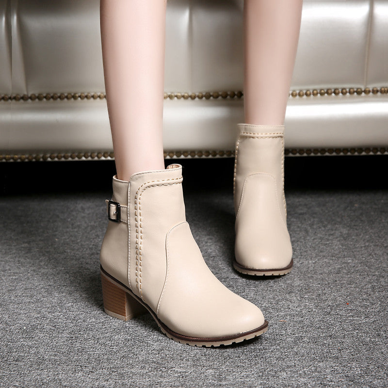 PU Pure Color Round Toe Block Heel Back Zipper Ankle Boots 9.5 Beige