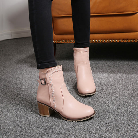 PU Pure Color Round Toe Block Heel Back Zipper Ankle Boots 9.5 Pink