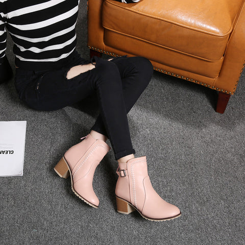 PU Pure Color Round Toe Block Heel Back Zipper Ankle Boots 9 Pink