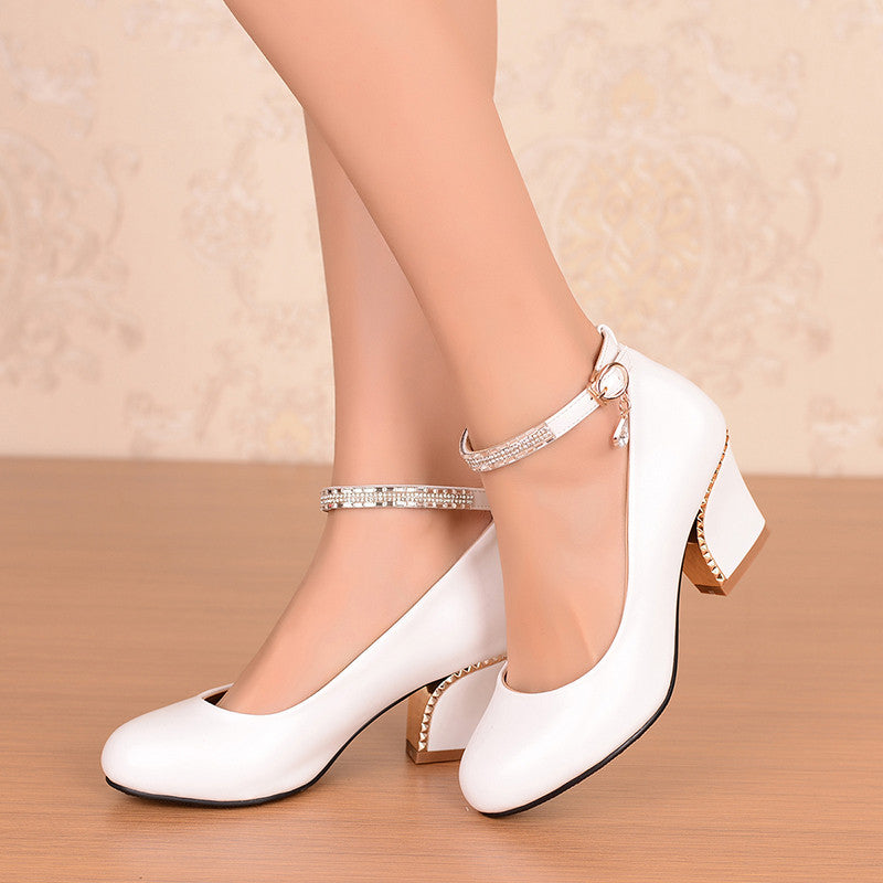 PU Pure Color Round Toe Block Heel Crystal Metal Buckle Belt Pumps 7 White