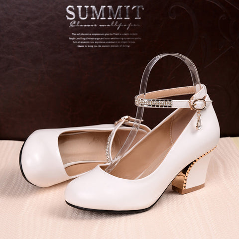 PU Pure Color Round Toe Block Heel Crystal Metal Buckle Belt Pumps 8 White