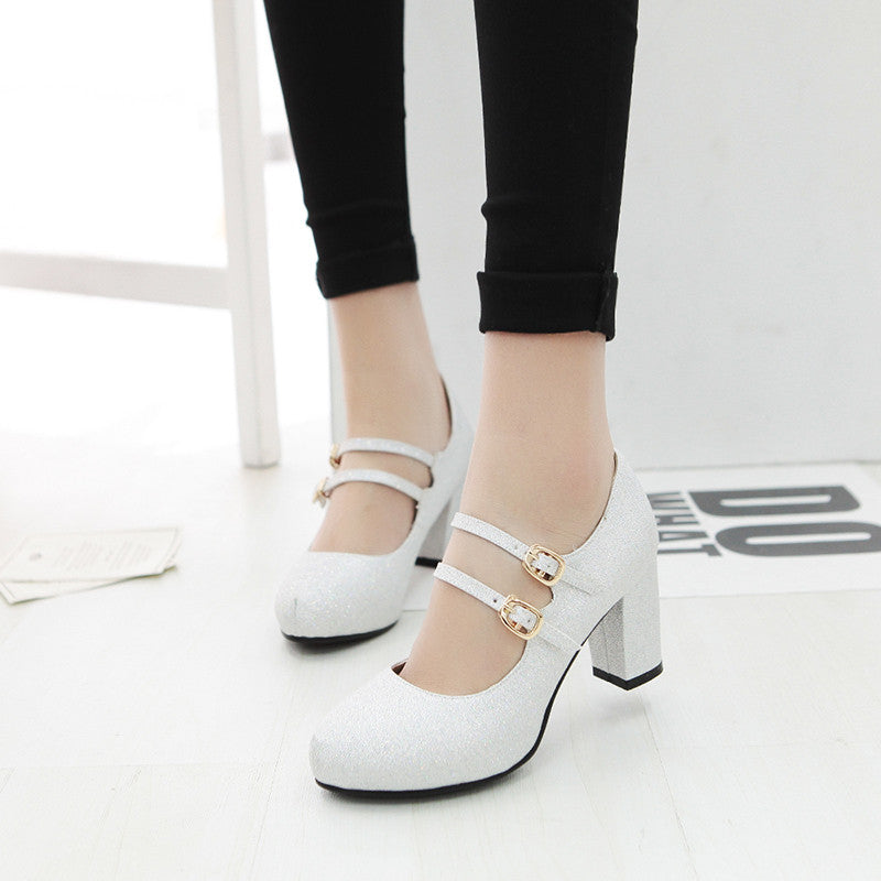 PU Pure Color Round Toe Block Heel Double Metal Buckle Belt Pumps 9.5 White