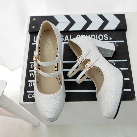 PU Pure Color Round Toe Block Heel Double Metal Buckle Belt Pumps 9 White