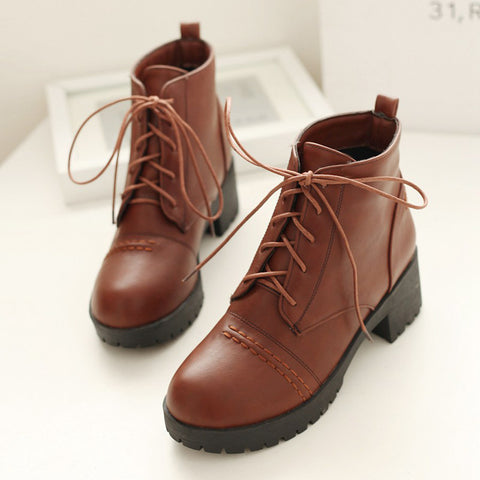 PU Pure Color Round Toe Block Heel Lace Up Martens 8 Brown