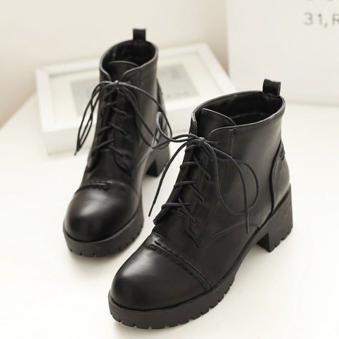 PU Pure Color Round Toe Block Heel Lace Up Martens 8 Black