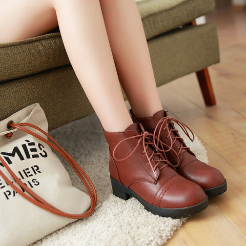 PU Pure Color Round Toe Block Heel Lace Up Martens 7.5 Brown