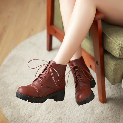 PU Pure Color Round Toe Block Heel Lace Up Martens 7 Brown
