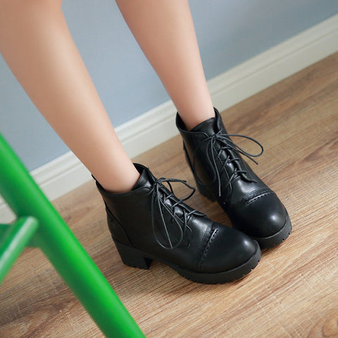 PU Pure Color Round Toe Block Heel Lace Up Martens 7 Black