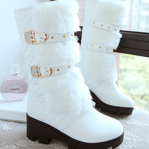 PU Pure Color Round Toe Block Heel Metal Buckle Belt Velvet Embellished Mid-calf Boots 9.5 White
