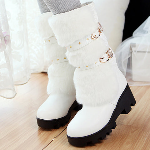 PU Pure Color Round Toe Block Heel Metal Buckle Belt Velvet Embellished Mid-calf Boots 9 White