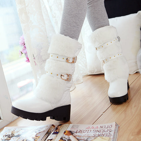 PU Pure Color Round Toe Block Heel Metal Buckle Belt Velvet Embellished Mid-calf Boots 8.5 White