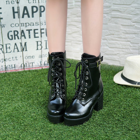 PU Pure Color Round Toe Block Heel Metal Buckle Decoration Lace Up Short Boots 8.5 Black