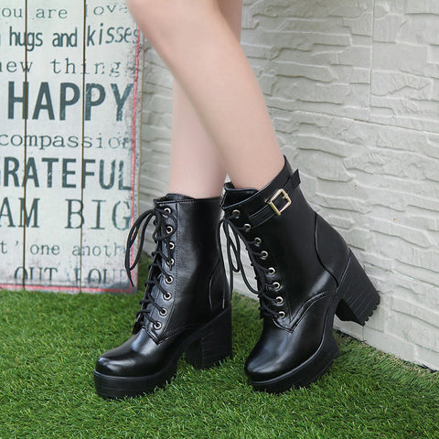PU Pure Color Round Toe Block Heel Metal Buckle Decoration Lace Up Short Boots 9 Black
