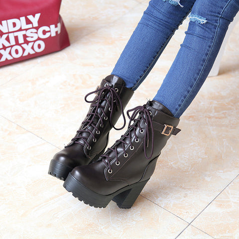 PU Pure Color Round Toe Block Heel Metal Buckle Decoration Lace Up Short Boots 8.5 Chocolate