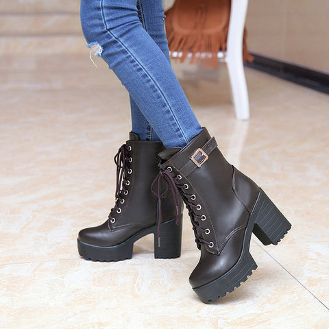 PU Pure Color Round Toe Block Heel Metal Buckle Decoration Lace Up Short Boots 9 Chocolate