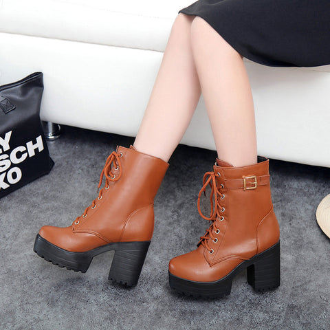 PU Pure Color Round Toe Block Heel Metal Buckle Decoration Lace Up Short Boots 9 Bronze