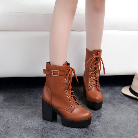 PU Pure Color Round Toe Block Heel Metal Buckle Decoration Lace Up Short Boots 8.5 Bronze
