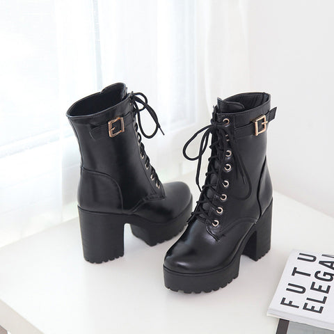 PU Pure Color Round Toe Block Heel Metal Buckle Decoration Lace Up Short Boots 9.5 Black