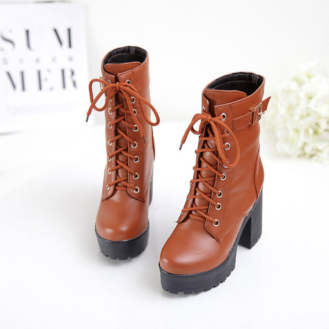 PU Pure Color Round Toe Block Heel Metal Buckle Decoration Lace Up Short Boots 9.5 Bronze