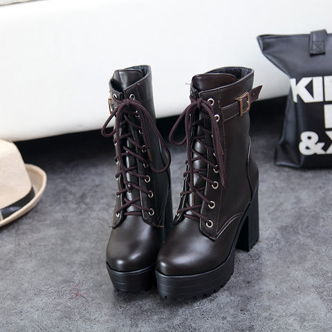 PU Pure Color Round Toe Block Heel Metal Buckle Decoration Lace Up Short Boots 9.5 Chocolate