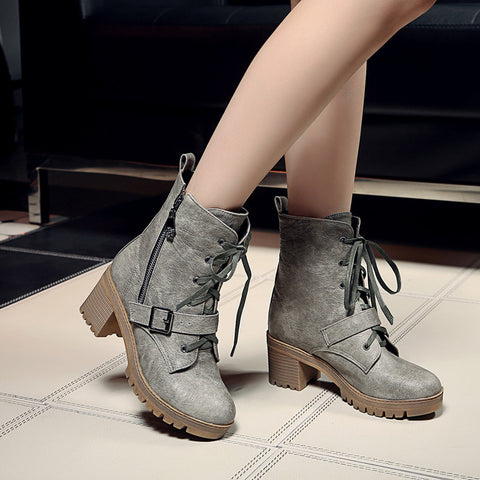 PU Pure Color Round Toe Block Heel Side Zipper Ankle Boots 9 Grey