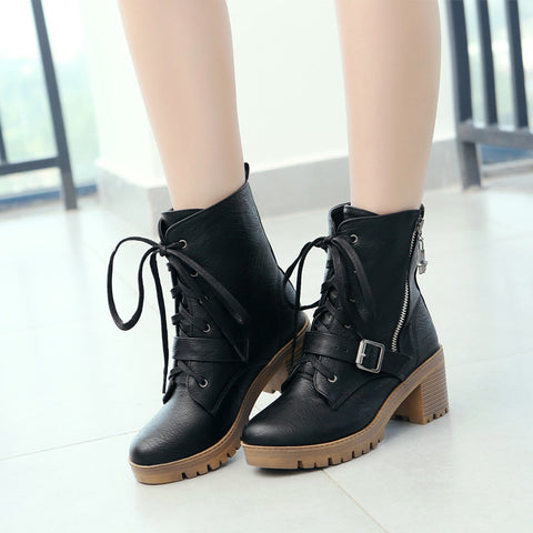 PU Pure Color Round Toe Block Heel Side Zipper Ankle Boots 9 Black