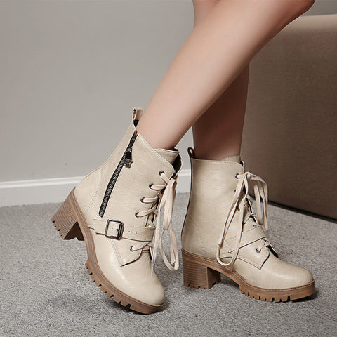 PU Pure Color Round Toe Block Heel Side Zipper Ankle Boots 9 Beige
